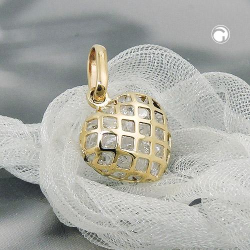 Anhänger, Herz mit Zirkonia, 9Kt GOLD