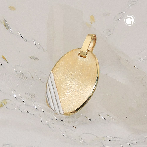 gravurplatte oval bicolor 9kt gold barlize besondere geschenke f r besondere menschen. Black Bedroom Furniture Sets. Home Design Ideas