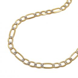Armband, 19cm, Figaro-Panzer, bicolor, 14Kt GOLD