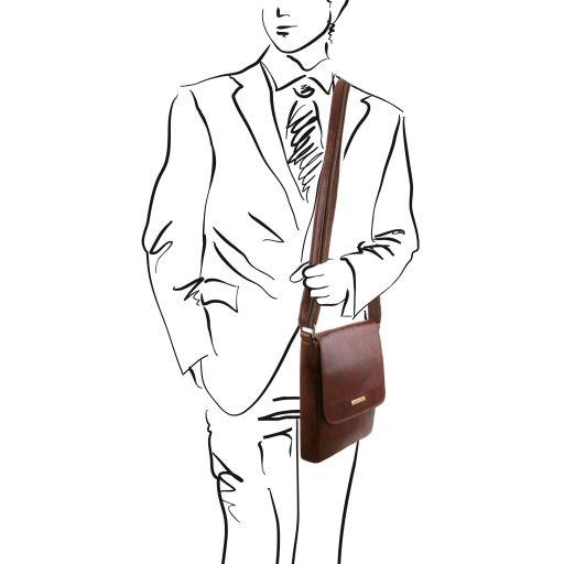 John - Herrentasche aus Leder mit Reißverschlussfach