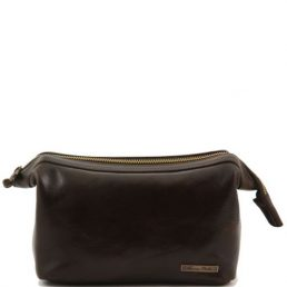 Leather toilet bag, dark brown
