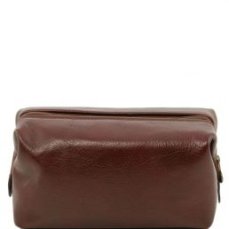Leather toilet bag - Small size, brown