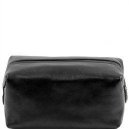Leather toilet bag - Large size, black