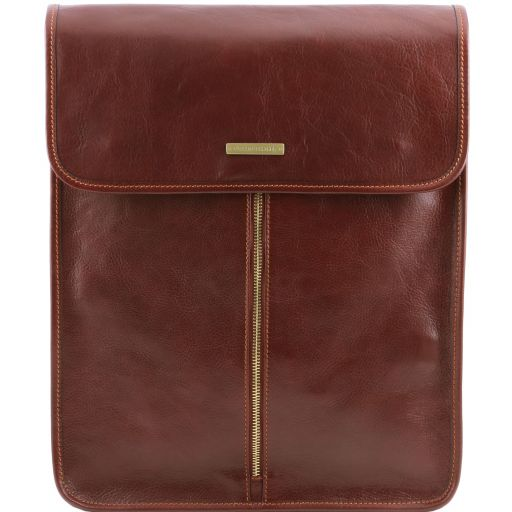Exclusive leather shirt case, brown