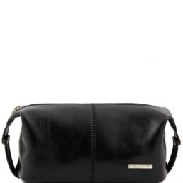 Roxy - Leather toilet bag, black