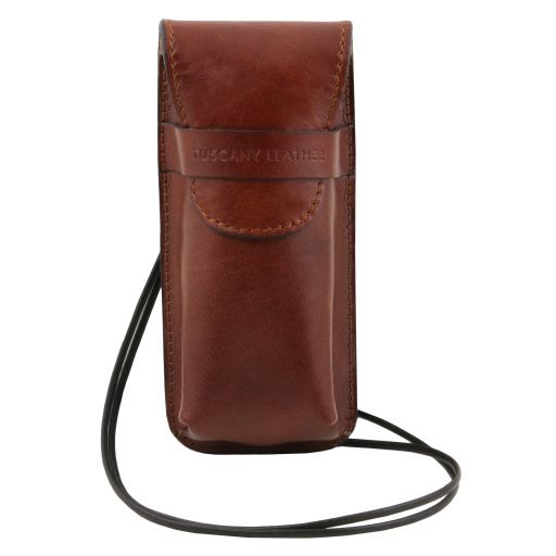 Exclusive leather eyeglasses/Smartphone holder, brown