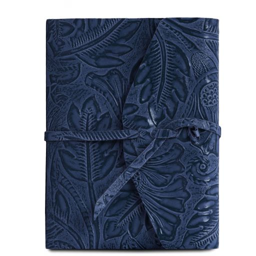 Leather travel diary with floral pattern dark blue