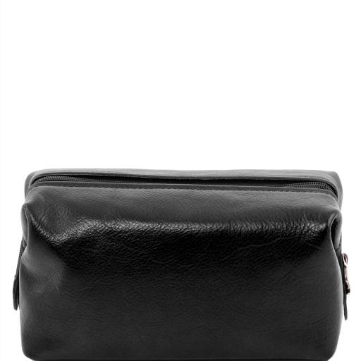 Leather toilet bag - Small size, black