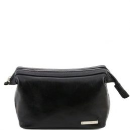 Leather toilet bag, black