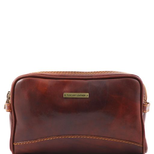Leather toilet bag, brown
