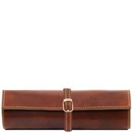 Exclusive leather jewellery case, brown