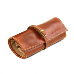 Exclusive leather jewellery case, honey