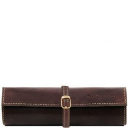 Exclusive leather jewellery case, dark brown