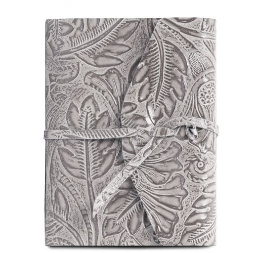 Leather travel diary with floral pattern grey