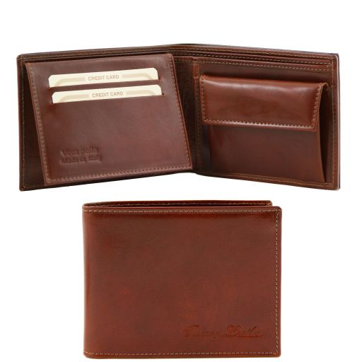 Exclusive leather 3 fold wallet for men with coin pocket, brown