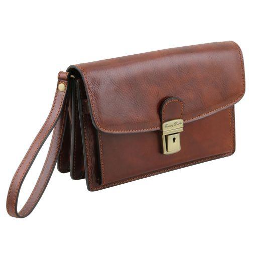 Arthur - Elegante Handgelenktasche/Herrentasche aus Leder