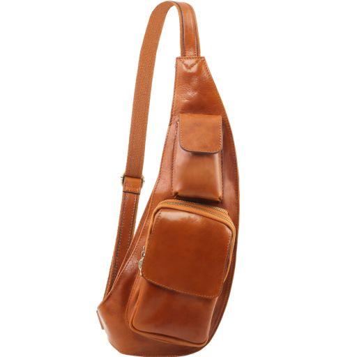 Leather crossover bag, honey