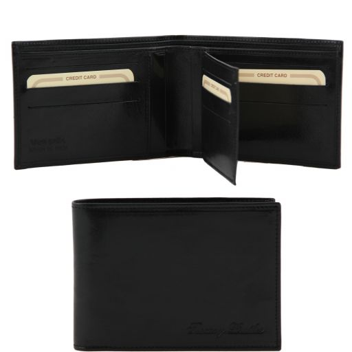 Exclusive leather 3 fold wallet for men, black
