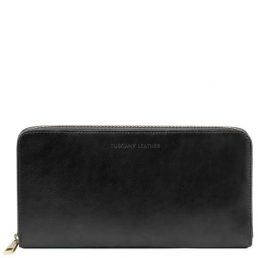 Exclusive leather travel document case black