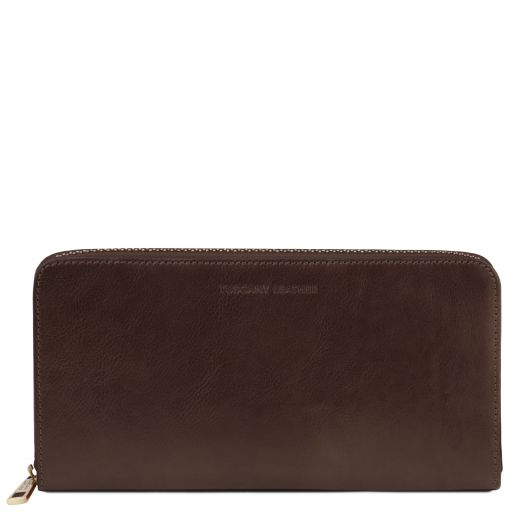 Exclusive leather travel document case, brown