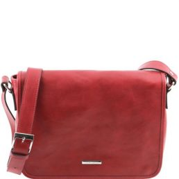 One compartment leather shoulder bag, red
