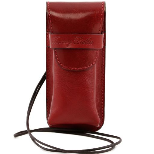Exclusive leather eyeglasses/Smartphone holder, red