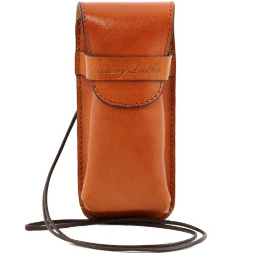 Exclusive leather eyeglasses/Smartphone holder, honey