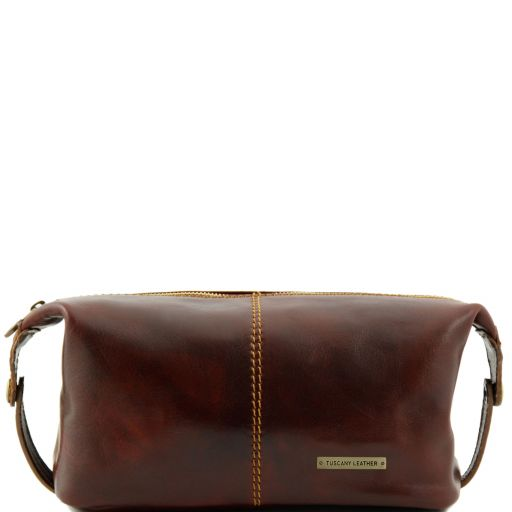 Roxy - Leather toilet bag, brown