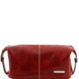 Roxy - Leather toilet bag, red