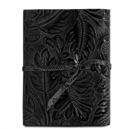 Leather travel diary with floral pattern black