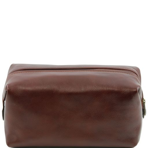 Leather toilet bag - Large size, brown