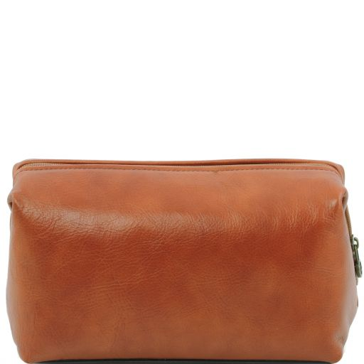 Leather toilet bag - Large size, honey