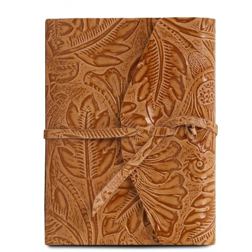 Leather travel diary with floral pattern cognac