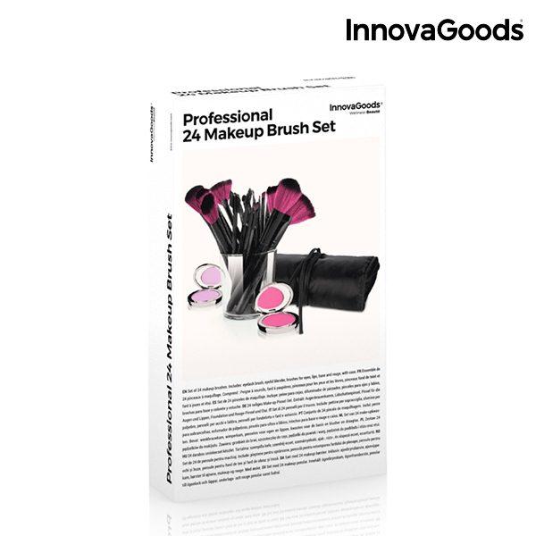 InnovaGoods Set mit 24 Make-Up Pinseln und Bürsten