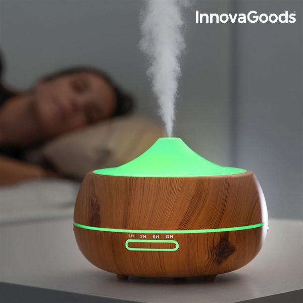 InnovaGoods LED Luftbefeuchter mit Wooden Effect Duftzerstäuber
