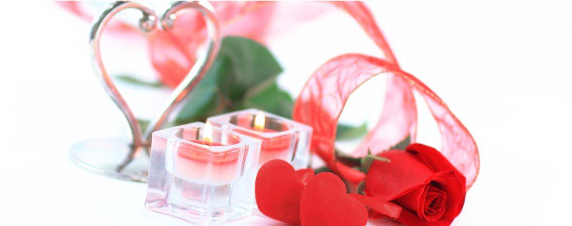 Valentinstag Herzen und Kerzen